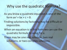the quadratic formula solving quadratic equations 3 objectives