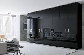 Mirrored Black Wardrobe Closet