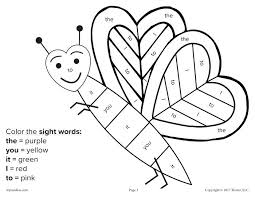 Color Word Coloring Pages Printable Sight Word Coloring Pages Grade