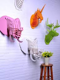 animal head wall decor diy wooden elephant head for wall artwood ornament decor on unicorn head