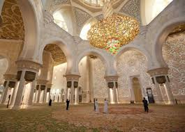the qibla wall of the prayer niche or mihrab with gold is oriented in the direction of mecca it is the religious heart of the mosque and looks the 99