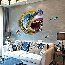 Elegant Bonlting DIY Removable 3d Cartoon Animation Fierce Shark Art Mural Vinyl  Waterproof Wall Stickers Living Room