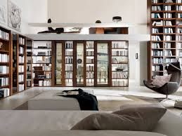 Interior:Amazing Large Open Wall Book Shelves On Wooden Flooring Combine  Minimalist Grey Sofa Also