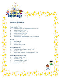 Wdw Height Chart Height Chart For Rides At Disney World Back To Magical