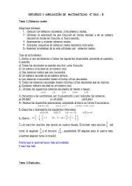 Lovely REFUERZO Y AMPLIACIÓN DE MATEMÁTICAS 4º ESO   B Tema 1.Números Reales  Objetivos Mínimos ...