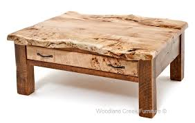 rustic coffee table with live edge burl slab