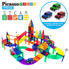 Race Track Design And Construction Picassotiles 128 Piece Race Car Track Building Block Educational Toy Set Magnetic Tiles Magnet Playset 3 Led Car Stem Learning Construction Kit