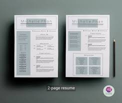 Resume 2 Pages Extraordinary 48page Resume Templatecover LetterCV Templateword Resume Etsy