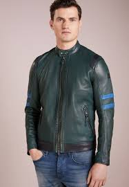 bo122t00q m11 dark green boss orange jaylo leather jacket mens larger image