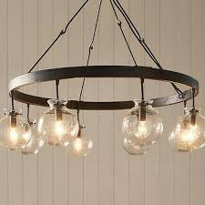 black ring glass globe chandelier