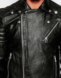 lyst selected leather biker jacket with asymmetric zip in black for men