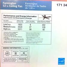 ceiling fan energy efficiency label 92 cfm per watt