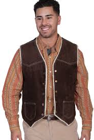 chocolate brown boar suede fur lined mens scully western vest