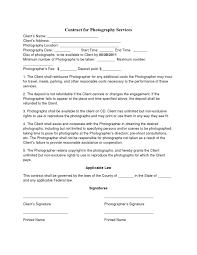 Photography Contract Basic Wedding Photography Contracts Photography Contract Template 1