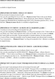 Download Oiseau Et Croco Pdf Ebook Pdf