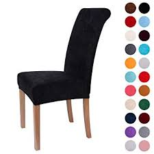 image unavailable image not available for color colorxy velvet spandex fabric stretch dining room chair slipcovers home decor set