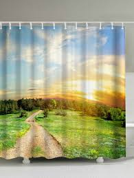 nature scenery print waterproof fabric shower curtain colormix 200 180cm