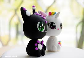 Fantastic Cats Wedding Cake Topper Alien and Unicorn Cats