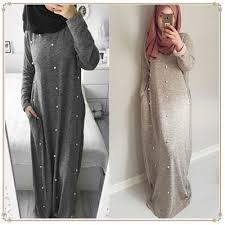 Dress <b>Women 2019 Fashion</b> New Muslim Beading <b>Pearl</b> Dress ...