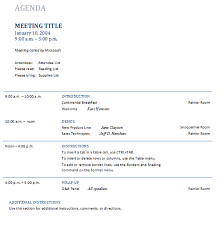 sample meeting schedule professional business meeting agenda template with timeline and