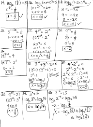 equations algebra 2 worksheets exponential and logarithmic functions equations requiring logarithms worksheets solving exponential