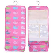 ncb25 27 p pink background multi whale pattern hanging and folding organizer cosmetic bag