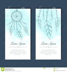 Dream Catcher Card Designs Cards With Dreamcatcher And Feathers Stock Vector