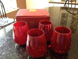 lenox stemless wine glasses crystal holiday gems ruby red set of 4 waterford lismore lenox stemless wine glasses red umbria