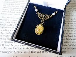 antique bronze art nouveau style glass fire opal pendant necklace