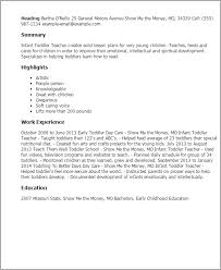 Resume Templates: Infant Toddler Teacher