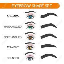 eyebrow shaping for woman face makeup eyebrows shape set vector ilration stock vector 74586137