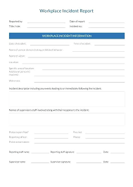 Workplace Injury Report Template Incident Report Templates Doc Free