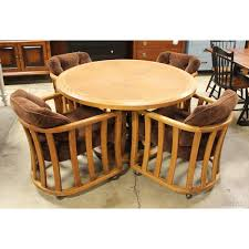 round dining table with chairs on casters and upscale consignment view detailed images oak for dinette sets clearance four chair wood room glass