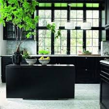 Black kitchen cabinets, brass bar pulls, shiplap, wood floors, taco ...