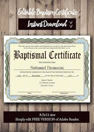 Sample Baptism Certificate Template Best Editable Baptism CERTIFICATE Template PDF Adobe Reader Etsy