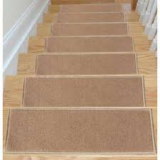 Dark Beige 8.5 in. x 26.5 Non-Slip Rubber Back Stair Tread Covers - Rugs The Home Depot
