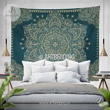bohemian tapestry teal  gold vintage mandala wall hanging boho