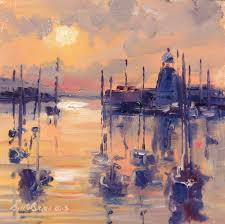 howth harbour golden evening painting 5 75x5 75 in 2016 by bill