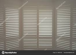 Luxury White Indoor Plantation Shutters Closed Shutters U2014 Stock Photo