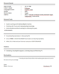 Ideas Collection Sample Resume Format For Freshers Doc Resume Format