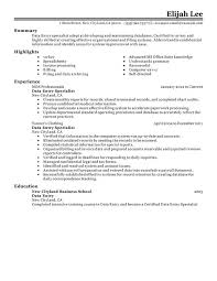 Data Entry Resume Template Interesting Data Entry Resume Summary Unforgettable Guest Service Representative