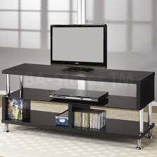 contemporary media console with glass and chrome accents  tv