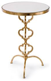 brando hollywood regency mirror gold leaf round end table transitional side tables and end tables by kathy kuo home