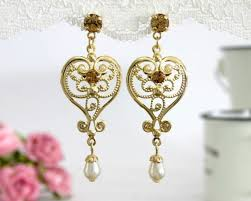 romantic chandelier heart women earrings gold plated brass swarovski crystal