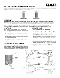 Bollard Foundation Design Bollard Installation Instructions Manualzz Com