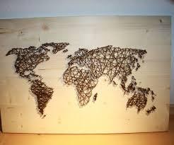 String and Nail Art `World Map´ | String art, Wall hangings and Walls