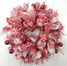 Deco Mesh Valentine Wreath Red White Funky Heart Door Wreath by