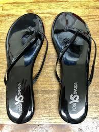 yosi samra roee patent leather flip flop sandal flats women black size 10