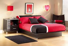 splendid teenage bedroom designs ideas with red black bedding and pillow also black wood table storage bedroom furniture for teenage girl