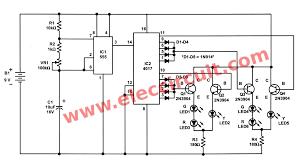 traffic light controller circuit using cd4027 ne555 rh eleccircuit com led grow light schematic led light